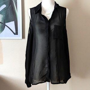 🌴 Cotton On Black Cold Shoulder Sheer Button up